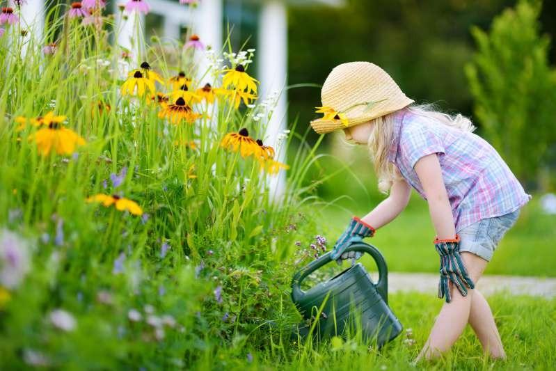 Kind gießt Blumen im kindersicheren Garten
