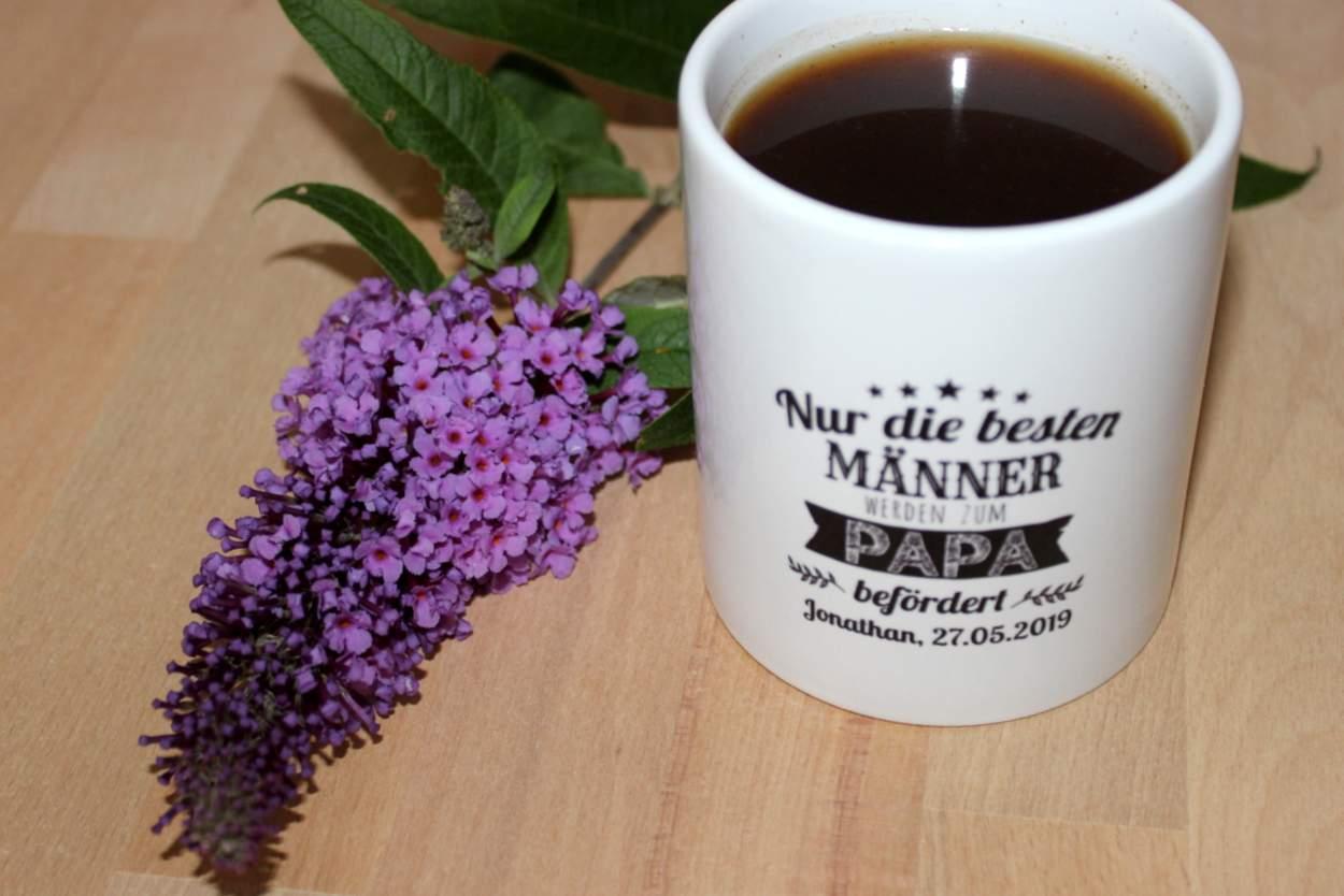Tasse mit persönlicher Widmung für Vater zur Geburt des Kindes