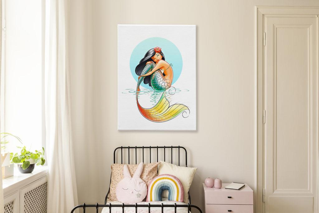 wandbild-im-maedchenzimmer-meerjungfrau